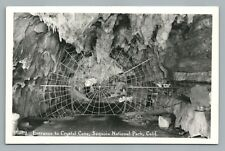Crystal Cave Entrance—Fake Spider Wed RPPC Sequoia National Park Photo 1940s