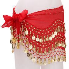 Belly dance belt 3 Row Hip Wrap Scarf Skirt Belt Dancing Costume Gold Coins&Bead