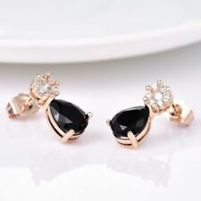 BLACK SAPPHIRE CRYSTAL STUD EARRING 18K GOLD FILLED & A GIFT BAG..LAST PAIR !