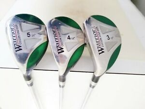 Set of 3 Warrior Hybrid Gold Clubs 3/19° 4/22° & 5/25° - R-Flex Steel - LEFT