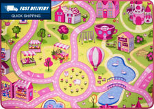 Funfair Pink Colourful Kids Town City Roads Childrens Floor Play Area Rug...