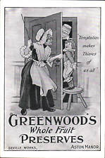 Advertising Poster. Greenwood's Fruit Preserves, Aston Manor, Birmingham.