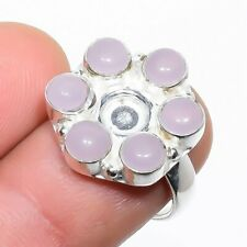 Rose Quartz Gemstone 925 Sterling Silver Jewelry Ring Size 7.5 8128