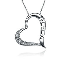 "Alpha Sigma Alpha Embedded Heart Silver Pendant w/ 18"" Chain Necklace (ASA-P004)"