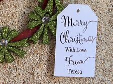 10 White Gift Tags Merry Christmas Favour Personalised With Love Silver Foil