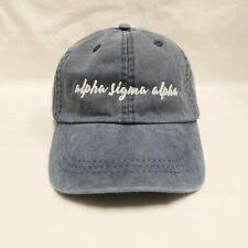 Alpha Sigma Alpha (N) Midnight Blue Sorority Name Baseball Hat with White Thread