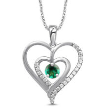1.45Ct Natural Green Emerald IGI Certified Diamond Pendent In 14KT White Gold