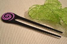 Holz Haarnadel Haargabel Schwarz Pink Punkte Haarforke  Steckgabel Hairpin  H 2