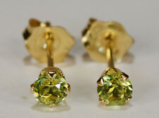 BEENJEWELED PETITE GENUINE NATURAL MINED PERIDOT EARRINGS~ 14 KT YLW GOLD~3MM