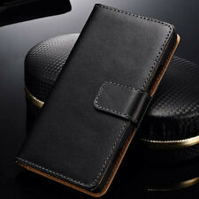 NEW Luxury Black Genuine Leather Flip Card Wallet Cover Case For Nokia Lumia 720