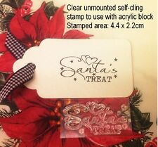 Santa's Treat, Clear Unmounted Christmas Craft Stamp For Tags, Cards etc
