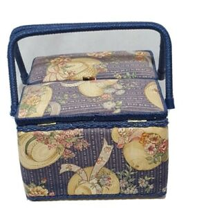 VINTAGE Wicker Padded Sewing Basket with Handles Blue 10 X 7