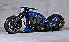 "Blue Chopper Harley Davidson Bike Large Canvas Print  A1 30"" x 20"""