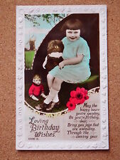 R&L Postcard: Portrait of Girl with Cuddly Toy & Male Doll &  Birthday