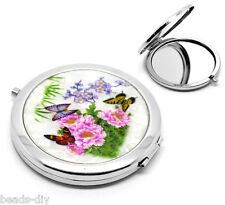 1PC Silver Modren Women lady Butterfly Floral Make Up Compact Mirror Beauty