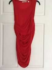 WOMENS COUNTRY ROAD, BRIGHT RED SLEEVLESS RUFFLED T SHIRT DRESS, SIZE S, #741
