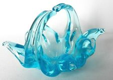 Very Beautiful Collectible Hand Blown Glass Decorative Turquoise Blue Basket