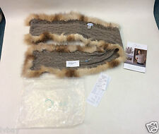 New Luxury Qiviuk Boutique Acc Vero Scarf With Crystal Fox Fur RRP $759.00