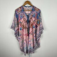 Hour Glass Kaftan Dress Womens Free Size Multicoloured Boho Short Sleeve V-Neck