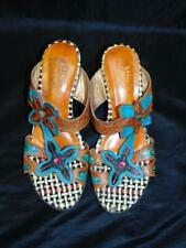 Spring Step 39 8.5 Durrow Sandals Brown Blue Leather Flower Heels Open Toe Shoes