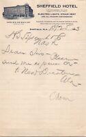 Vintage 1913 The Sheffield Hotel Alabama AL Letterhead Receipt Letter