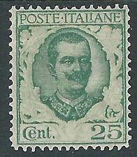 1926 REGNO FLOREALE 25 CENT VARIETà SENZA STAMPA ORNATO MH * - Y162-2