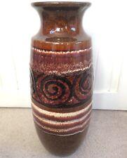 Vintage West Germany Tall Floor Vase Modernist Brutalist Lava Mid Century Brown