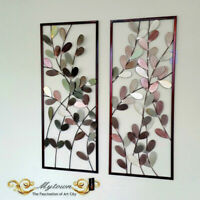 Pair Metal Frame Leaves Hanging Wall Art Sculpture Home Garden Decoration 80cm
