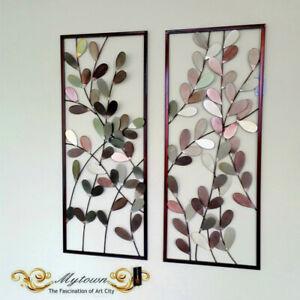 Pair Metal Frame Leaves Hanging Wall Art Sculpture Home Garden Decoration 80cm