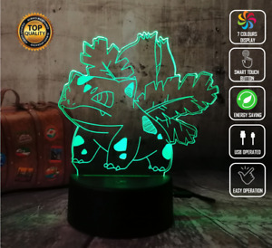 BULBASAUR POKEMON PIKACHU 3D Acrylic LED 7 Colour Night Light Touch Lamp Gift