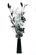90 Cm Tall Silver Floral in Crafted Black Vase 20 Battery LED Lights
