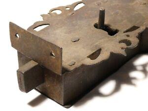 18thC Heavy Iron Door Lock with Pierced Decorative Border & Scroll Engraving #D