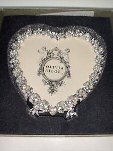 "New Olivia Riegel Contessa 3.5"" Heart Crystal Pearl Frame With Box"