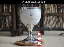 98 gram Purity S999 Fine Solid Silver Hand Made Dragon Phoenix Tea Cup Goblet