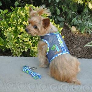 Surfboard Blue and Green Cool Mesh Dog Harness with Matching Leash XS-L