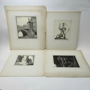 4x Art Prints by Thos. A. Godfrey Signed Workers Buildings Card Mounted Lot D