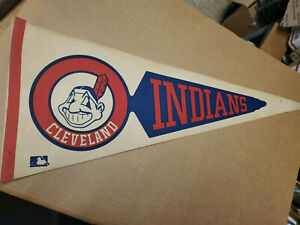 VINTAGE PENNANT CLEVELAND INDIANS 1970'S Chief Wahoo Logo