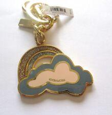 Coach Glitter Rainbow and Cloud Key Ring/Bag Charm-blue pink-gold tone F35245