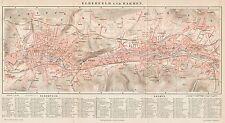 B6151 Germany - Elberfeld and Barmen town plan - Carta geografica 1890 - Old map