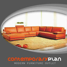 Contemporary Orange Leather Sectional Sofa with Chaise Modern Minimalist Sofa
