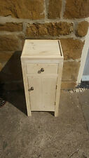 H65 W30 D30cm BESPOKE LISBON UNTREATED CHUNKY BEDSIDE TABLE HALL CUPBOARD DRAWER