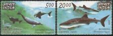 India 2009 MNH 2v, Joint Issue Philippines, Gangetic Dolphin, Whale shark Marine