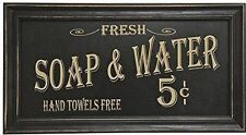Vintage Advertising Bath Wood Framed Sign Decor Picture Art Bathroom Washroom