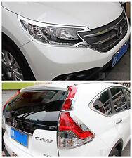 6ABS Chrome Front + Rear Light Lamp Cover Trim For HONDA CRV 2012-2014 CR-V