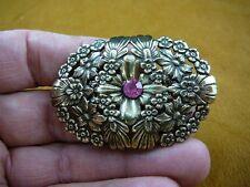CB-FLO-3 FLOWER daisy pink stone brass Barrettes French barrette