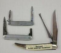 Vintage Pocket Knives Advertising Lot of 3 Lehman Hardware Sealwall EH Best