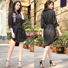 Women Embroidery Floral Long Sleeve T-shirt Blouse Shirt Mini Dress Plus Size