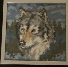 "HandMade Small Wolf Doggo Boi Handmade Needlepoint Cross Stitch 5.5"" X 5.5"""