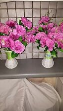 2 Sets Silk Artificial Pink Color Carnation Flowers & Vases table Decorations
