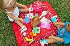 """DOLL PICNIC BASKET 18 PC FOR AMERICAN GIRL AND 15""""  DOLLS FOOD GAMES ACTIVITIES"""